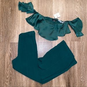 Hunter Green Two Piece Outfit Crop Top Wide Pant S